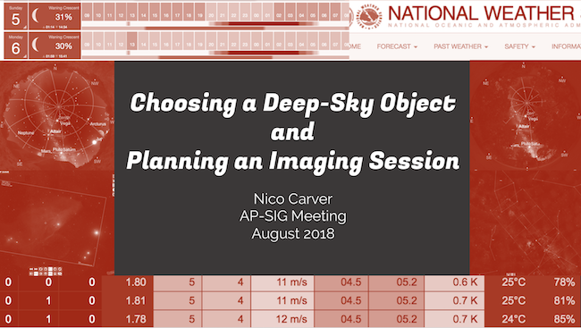 Choosing a deep sky object and planning an imaging session